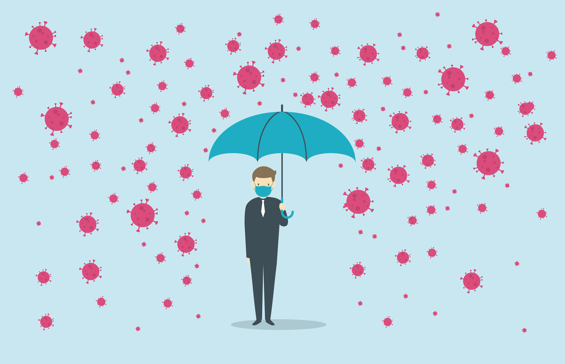 Man holding umbrella as coronavirus looms above with evil intent