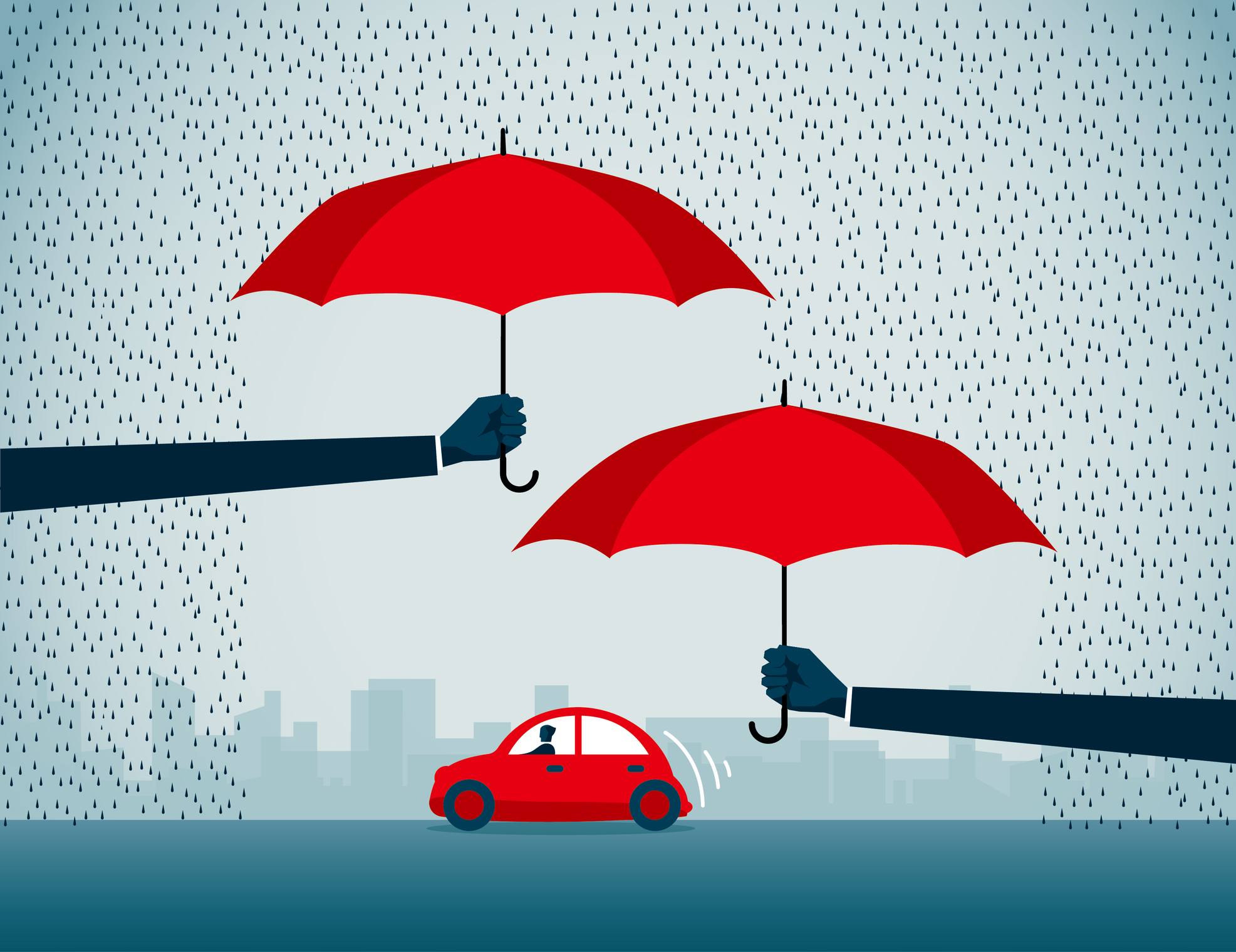 Umbrellas over a car graphic